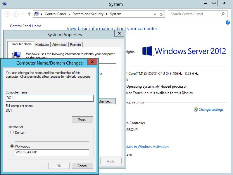 Windows Server 2012 Изменить имя компьютера