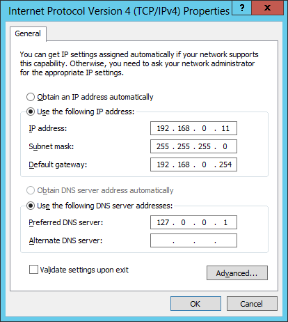 Windows Server 2012 TCP IPv4  Network Adapter