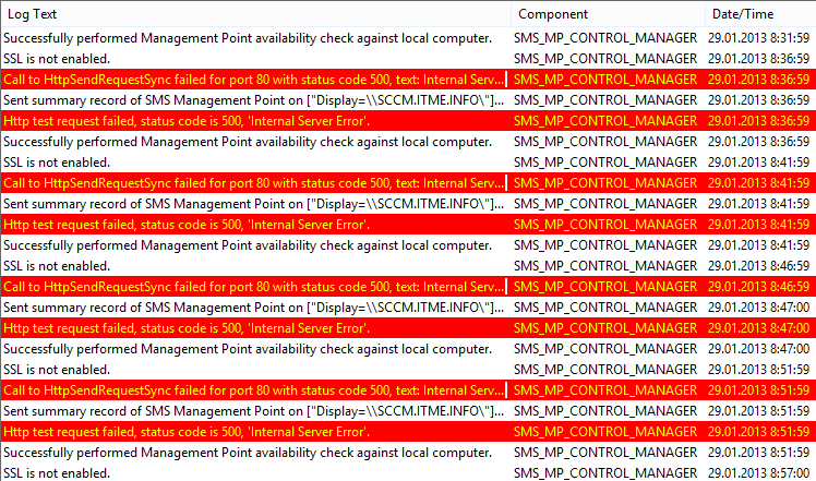 SCCM 2012. Call to HttpSendRequestSync failed for port 80 with status code 500