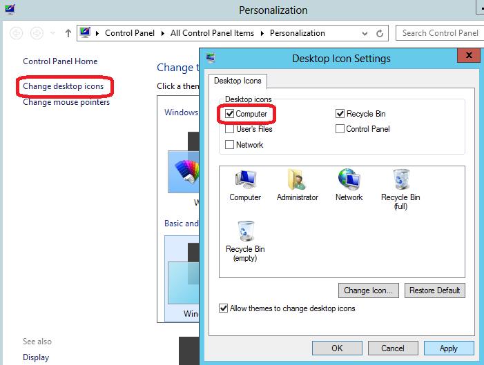 Chahge desktop icons