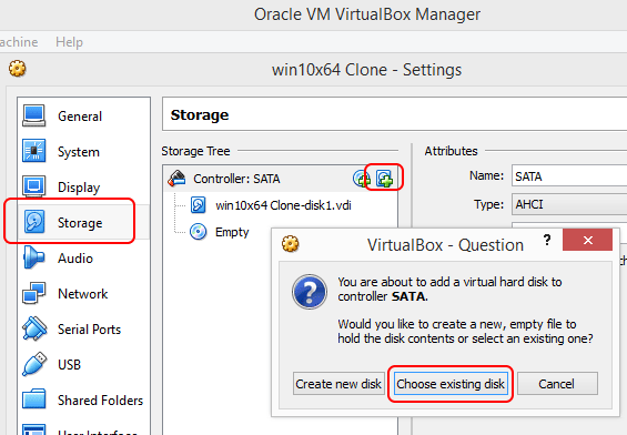 virtualbox select disk